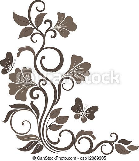Vetorial de floral, vetorial, Ilustração, sepia, Ornamento, canto