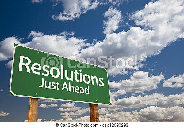 Resolutions Green Road Sign - csp12090293