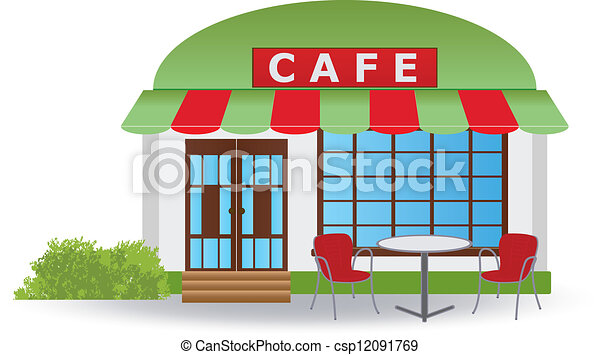 Clip Art Vector of Cafe house - Cafe. Vector illustration ...