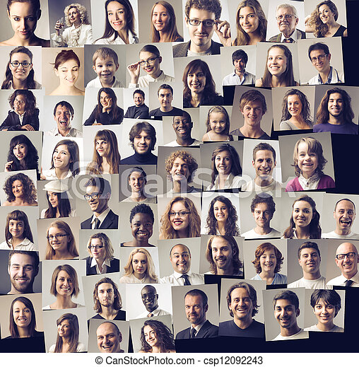 Collage of different people\'s portraits