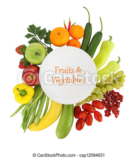 Empty plate with fruits and vegetables around it - csp12094631
