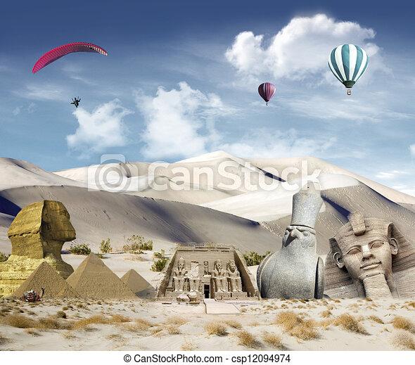 Egyptian landmarks - csp12094974