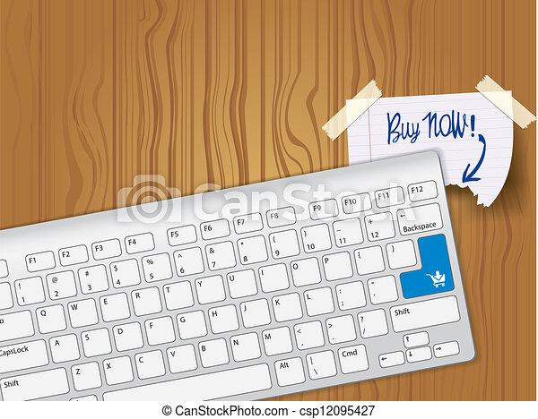 Buy now - blue key computer keyboard - csp12095427