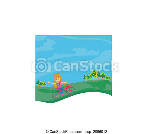 little girl riding a bicycle - csp12096012