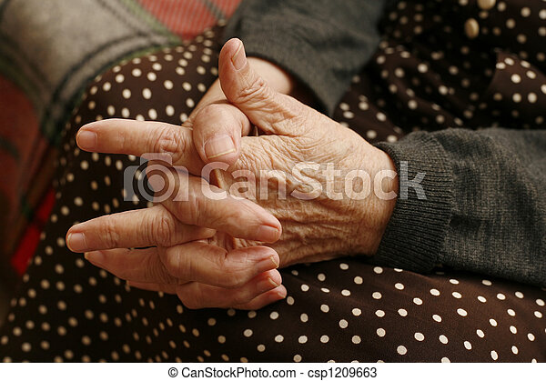 mulher, Idoso, mãos - csp1209663