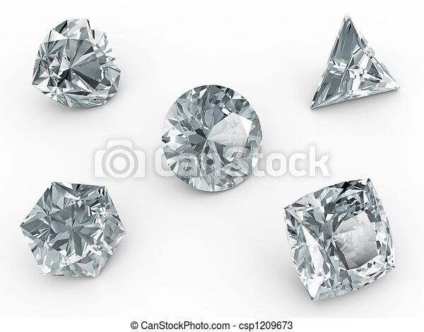 Various diamonds on white - csp1209673