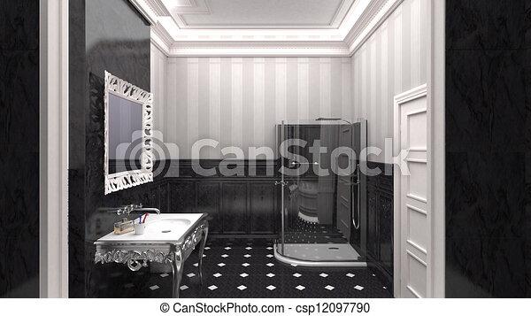 Stock de ilustraciones de lujoso dise ador cuarto de - Disenador de banos ...