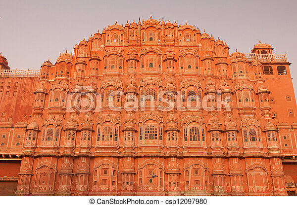 hawa mahal, landmark of pink city jaipur in india - csp12097980