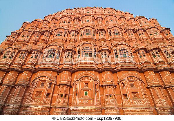 hawa mahal, landmark of pink city jaipur in india - csp12097988