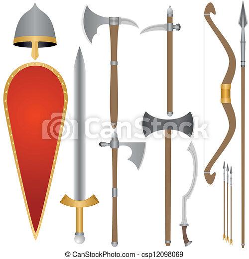 Arma, y, armadura, de, viejo, ruso,  Sol - csp12098069