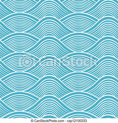 Ocean Line Drawing Japanese Seamless Ocean Wave