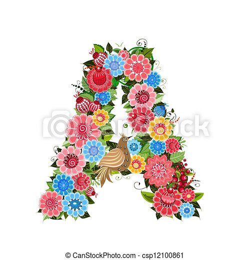 Floral letter to the birds in the style Khokhloma - csp12100861