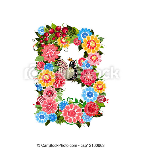 Floral letter to the birds in the style Khokhloma - csp12100863