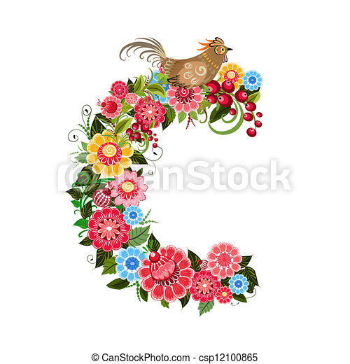 Floral letter to the birds in the style Khokhloma - csp12100865