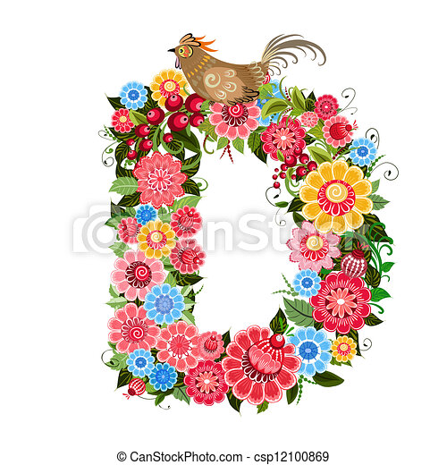 Floral letter to the birds in the style Khokhloma - csp12100869