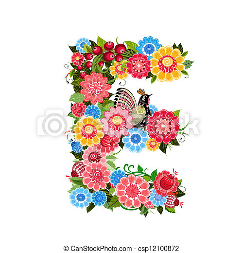 Floral letter to the birds in the style Khokhloma - csp12100872