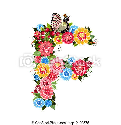 Floral letter to the birds in the style Khokhloma - csp12100875