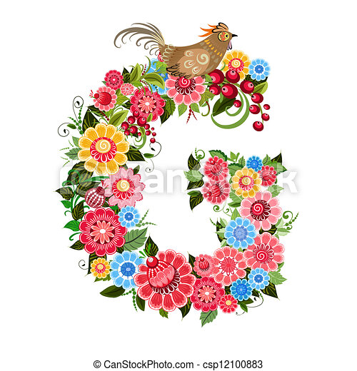 Floral letter to the birds in the style Khokhloma - csp12100883