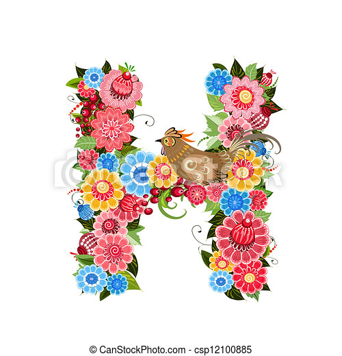 Floral letter to the birds in the style Khokhloma - csp12100885