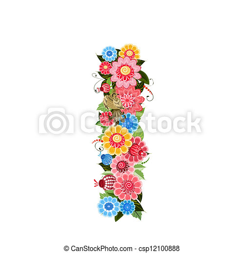 Floral letter to the birds in the style Khokhloma - csp12100888