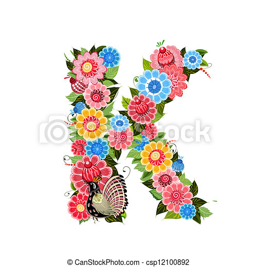 Floral letter to the birds in the style Khokhloma - csp12100892