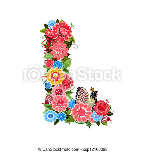 Floral letter to the birds in the style Khokhloma - csp12100893