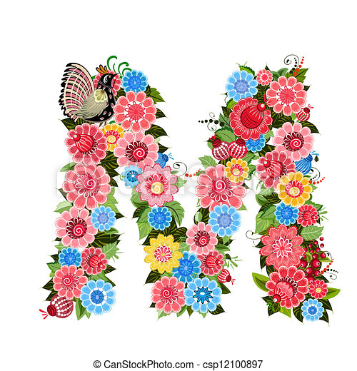 Floral letter to the birds in the style Khokhloma - csp12100897