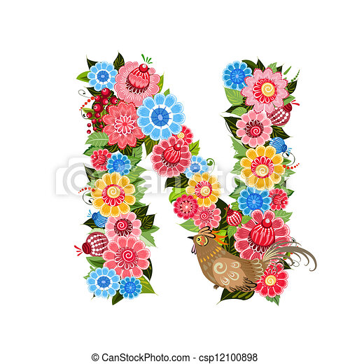 Floral letter to the birds in the style Khokhloma - csp12100898