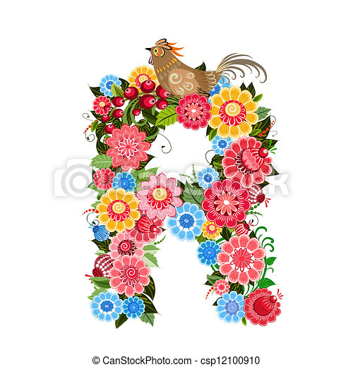 Floral letter to the birds in the style Khokhloma - csp12100910