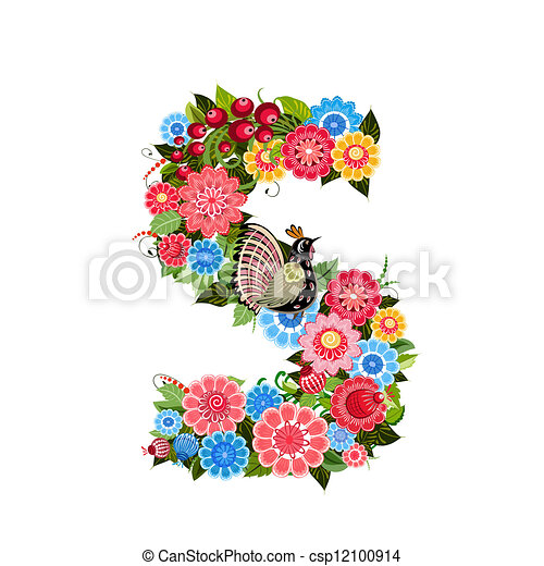 Floral letter to the birds in the style Khokhloma - csp12100914