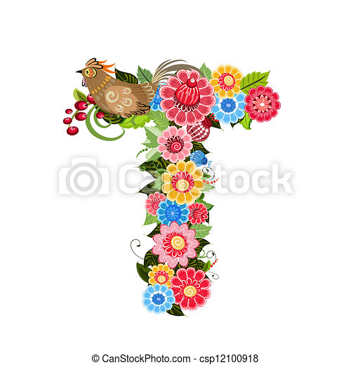 Floral letter to the birds in the style Khokhloma - csp12100918