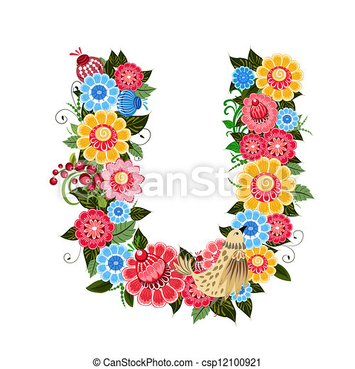 Floral letter to the birds in the style Khokhloma - csp12100921