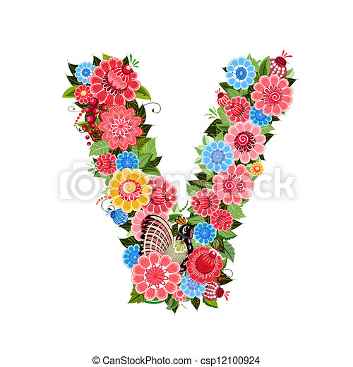 Floral letter to the birds in the style Khokhloma - csp12100924