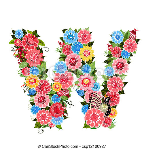 Floral letter to the birds in the style Khokhloma - csp12100927