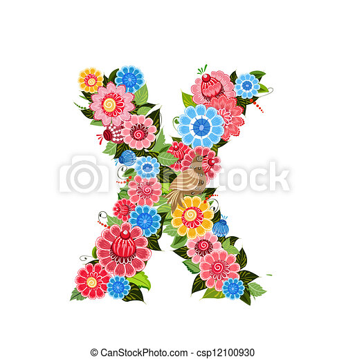 Floral letter to the birds in the style Khokhloma - csp12100930