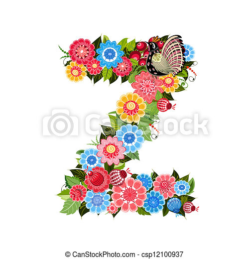 Floral letter to the birds in the style Khokhloma - csp12100937