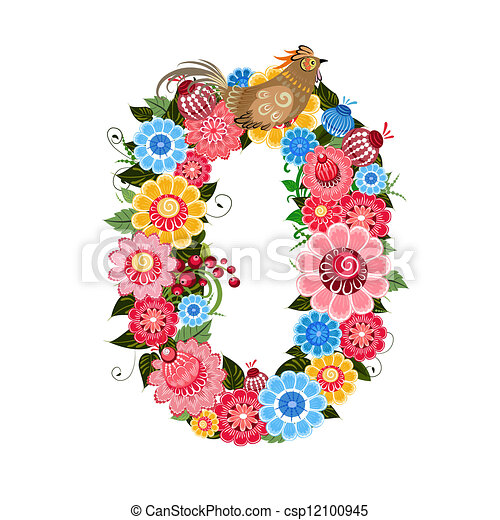 Flower number with birds in Khokhloma style - csp12100945