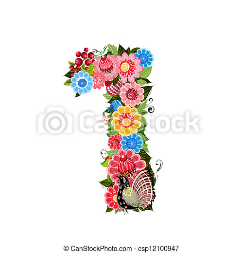 Flower number with birds in Khokhloma style - csp12100947