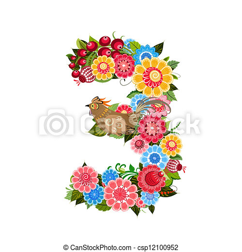 Flower number with birds in Khokhloma style - csp12100952