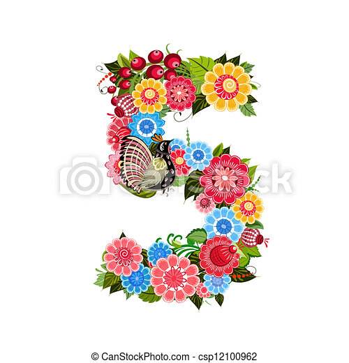 Flower number with birds in Khokhloma style - csp12100962