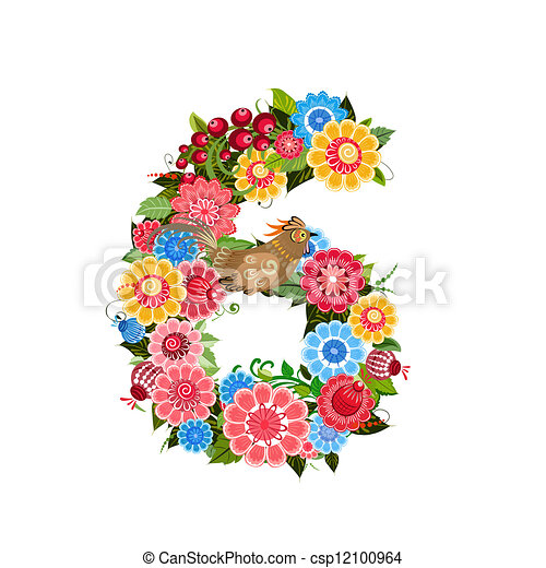 Flower number with birds in Khokhloma style - csp12100964