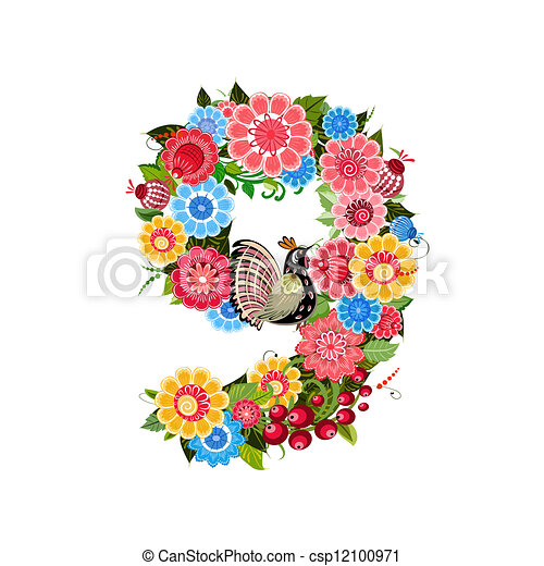 Flower number with birds in Khokhloma style - csp12100971