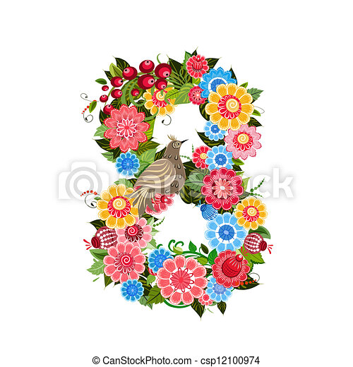 Flower number with birds in Khokhloma style - csp12100974