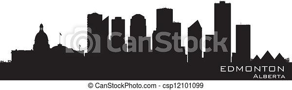 Edmonton, Canada skyline. Detailed silhouette - csp12101099