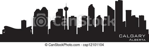 Calgary, Canada skyline. Detailed silhouette - csp12101104