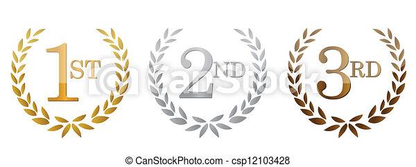 2nd place stock vector illustration royalty free 2nd place clipart - Vector Illustration Of 1st 2nd 3rd Awards Golden Emblems