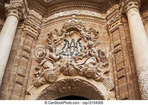 Historic  buildings with lace fronts Spain - csp12104305