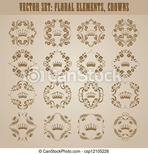 Victorian crown and decorative elements. - csp12105226