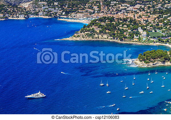 Aerial view on Cassis and Calanque Coast, Southern France - csp12106083