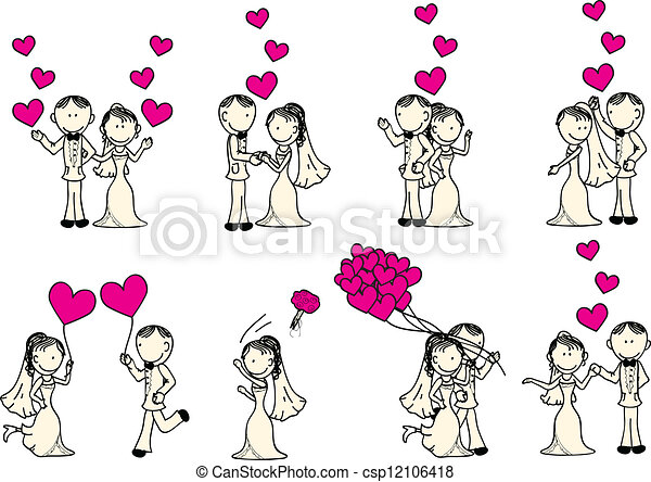 Vector Clip Art of wedding couple - cute wedding couple with pink ...